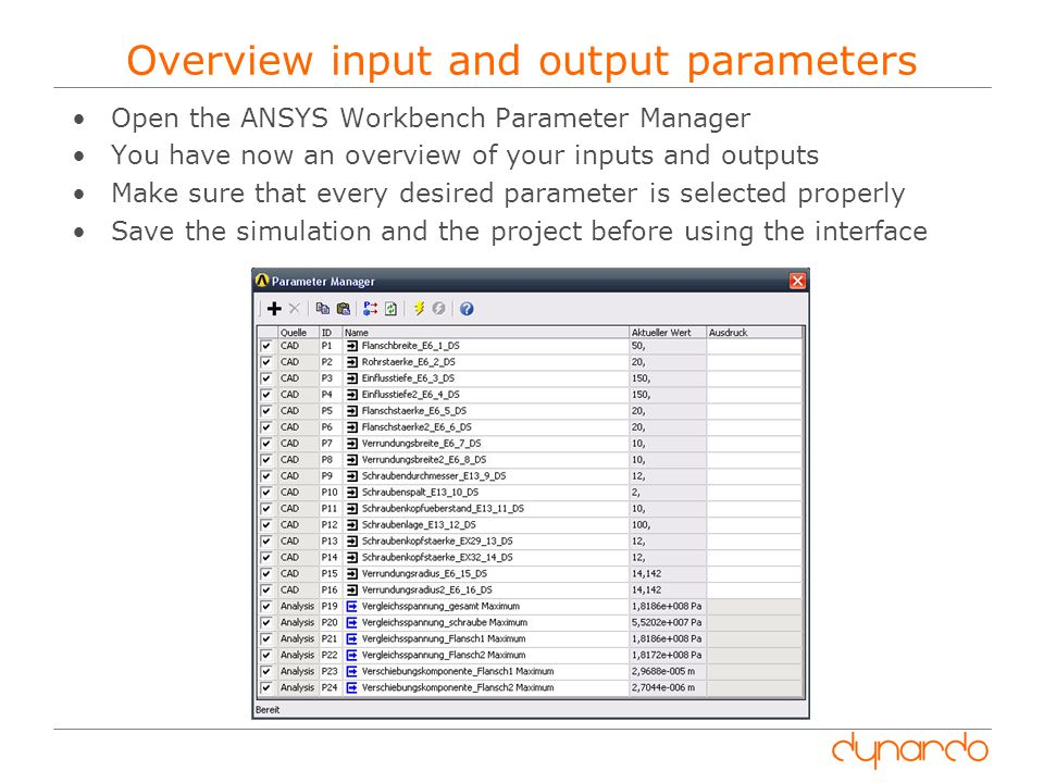 Overview input and output parameters