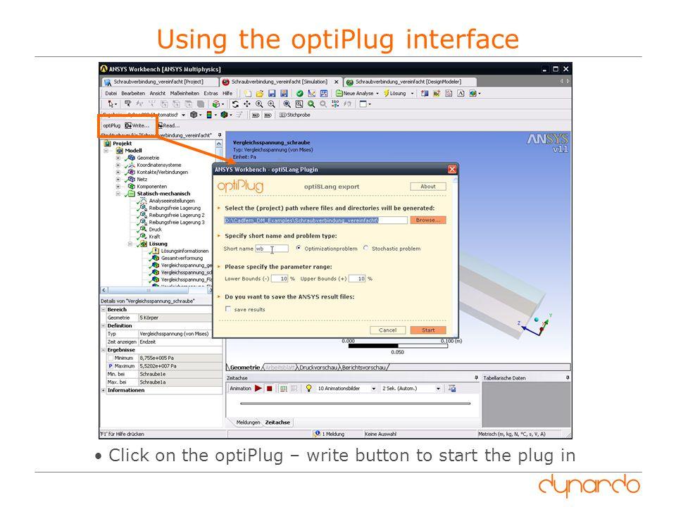 Using the optiPlug interface