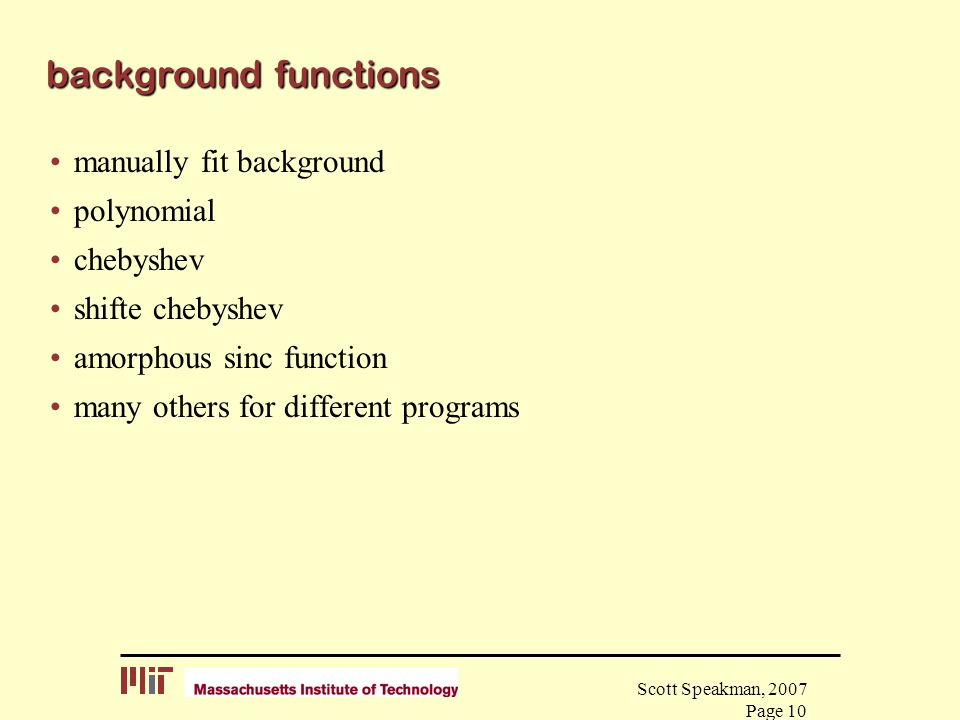 background functions manually fit background polynomial chebyshev