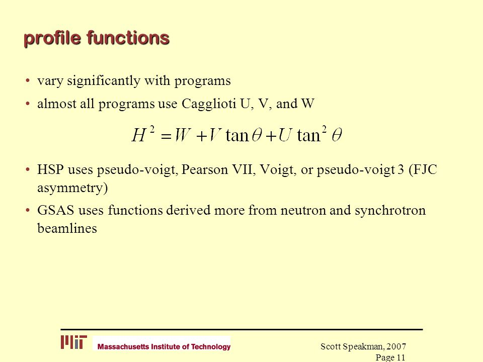 profile functions vary significantly with programs