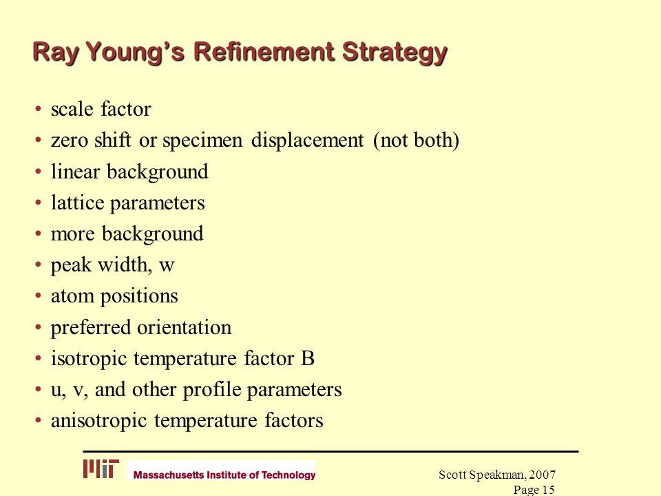 Ray Young's Refinement Strategy