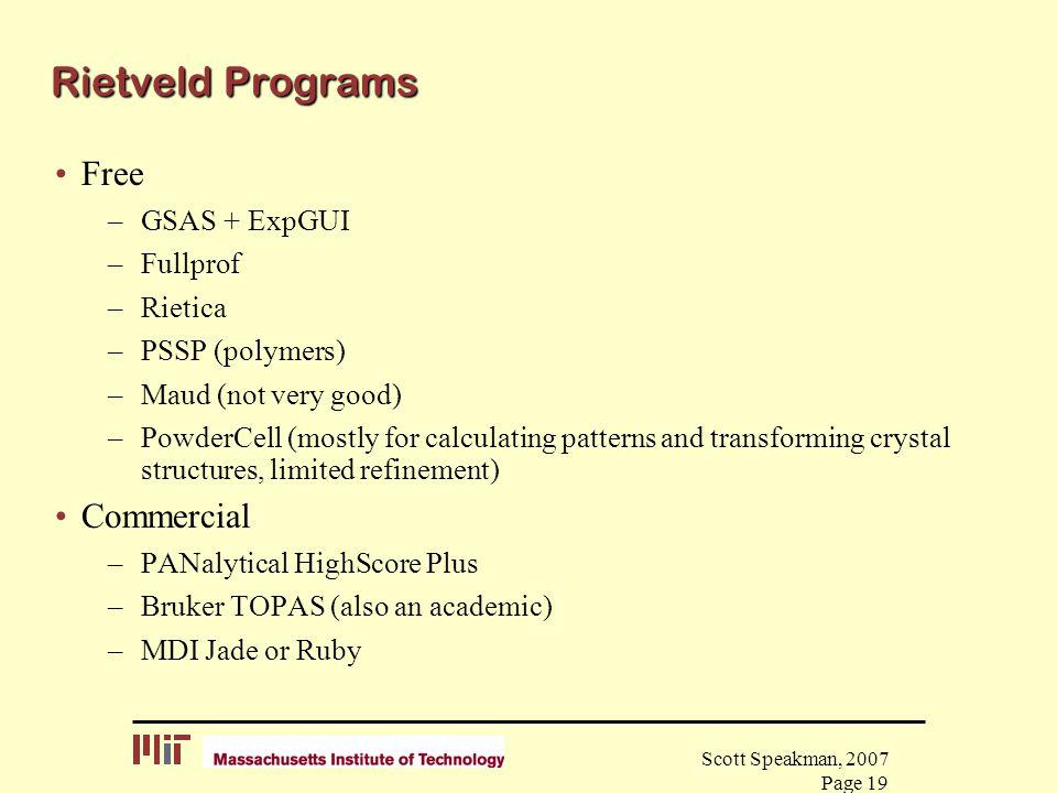 Rietveld Programs Free Commercial GSAS + ExpGUI Fullprof Rietica
