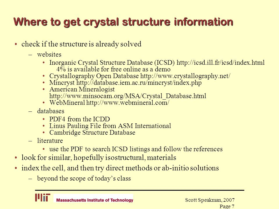 Where to get crystal structure information