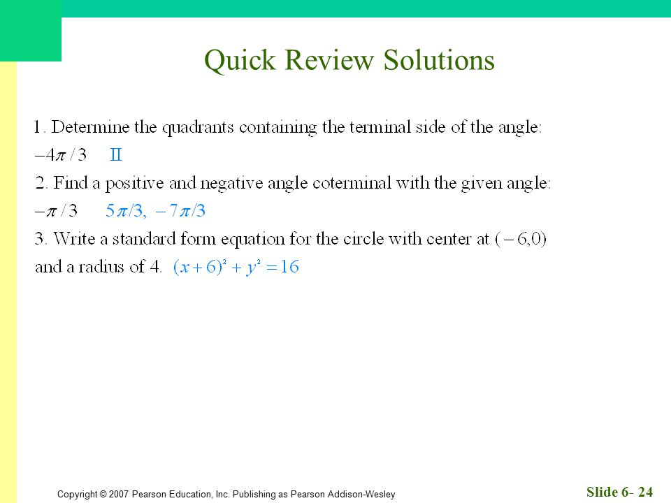 Quick Review Solutions