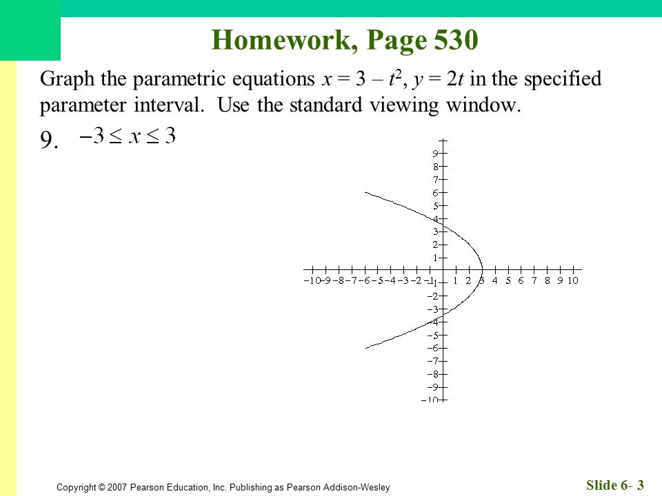 Homework, Page 530 Graph the parametric equations x = 3 – t2, y = 2t in the specified parameter interval. Use the standard viewing window.
