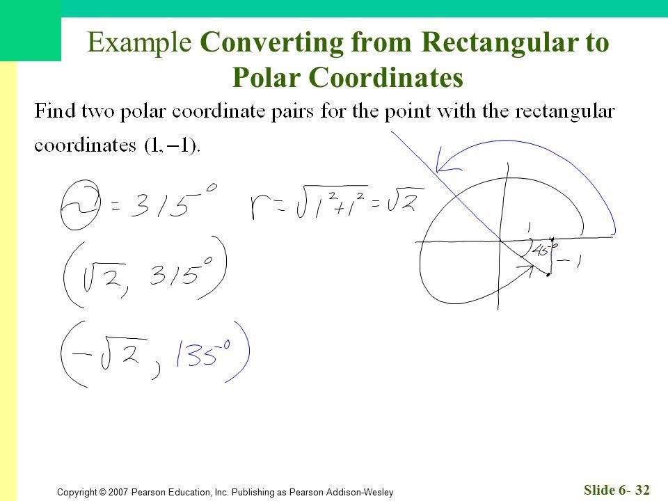 Example Converting from Rectangular to Polar Coordinates