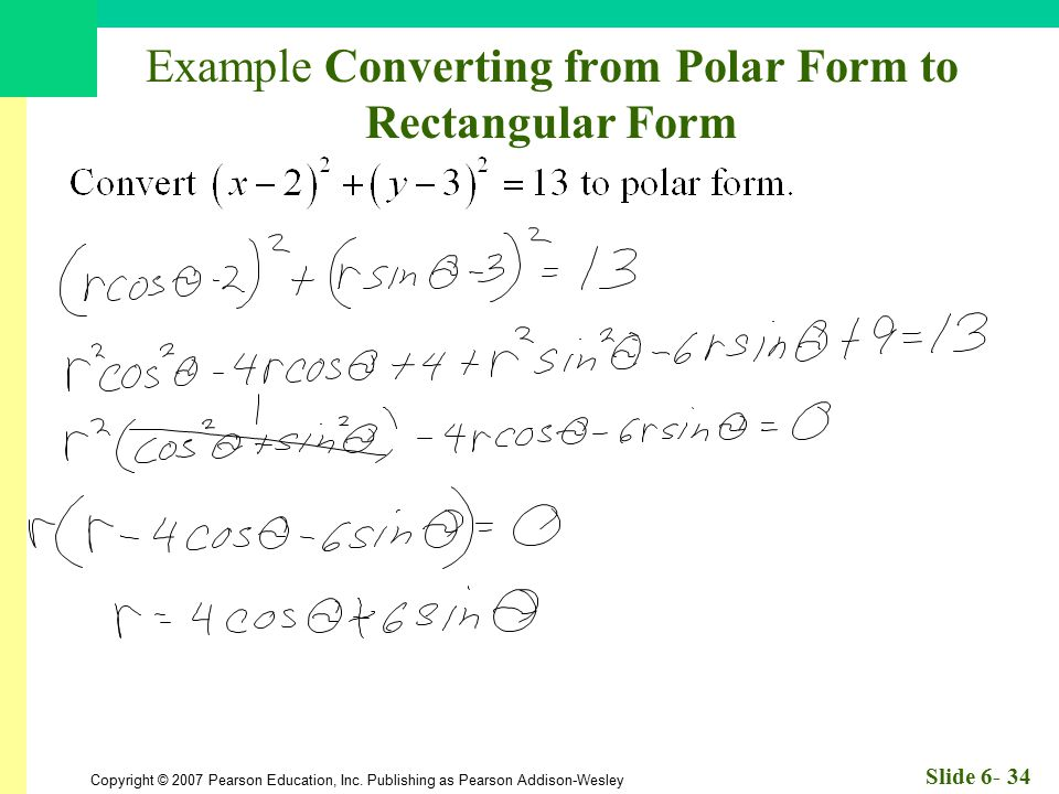 Example Converting from Polar Form to Rectangular Form