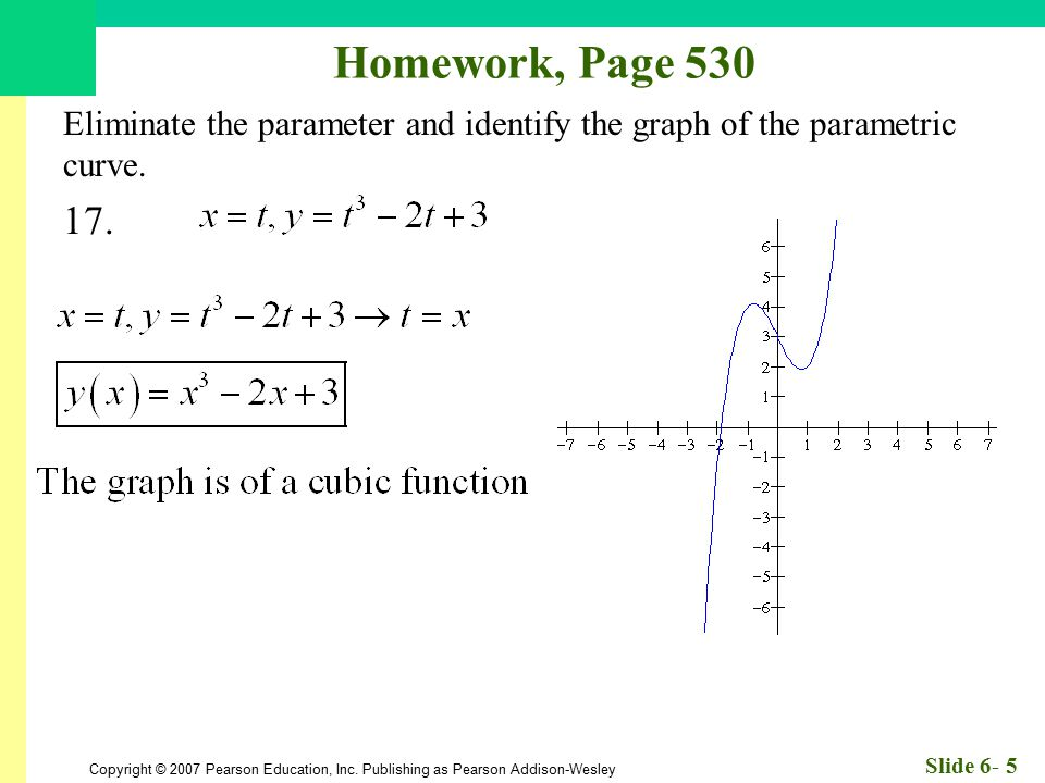 Homework, Page 530 Eliminate the parameter and identify the graph of the parametric curve. 17.