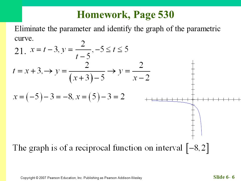 Homework, Page 530 Eliminate the parameter and identify the graph of the parametric curve. 21.