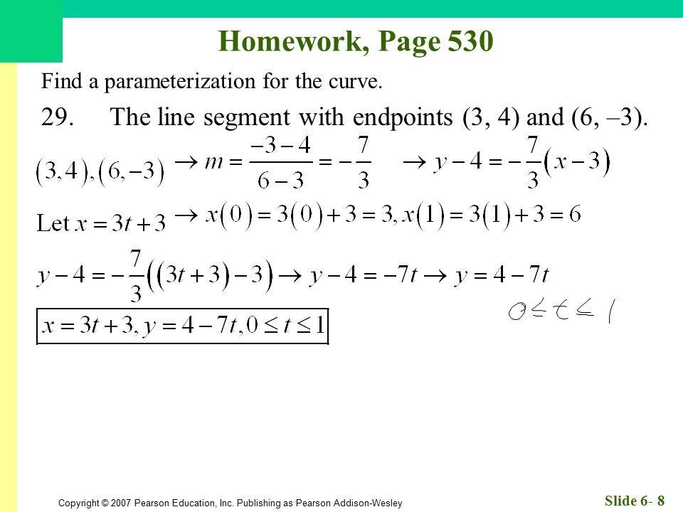 Homework, Page 530 Find a parameterization for the curve.