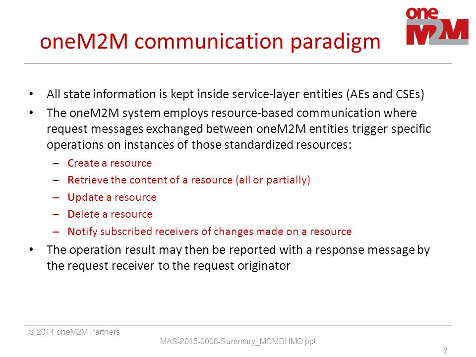 oneM2M communication paradigm