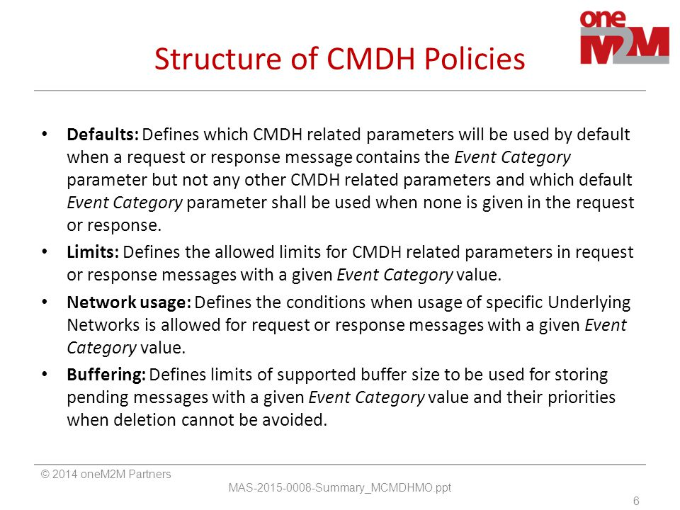 Structure of CMDH Policies