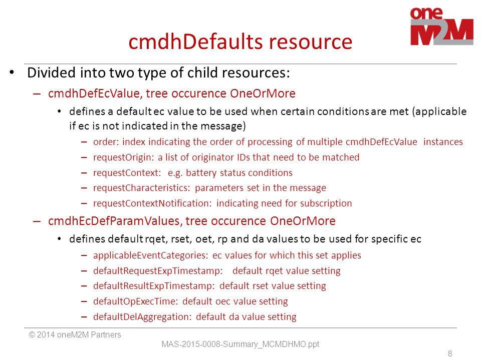 cmdhDefaults resource