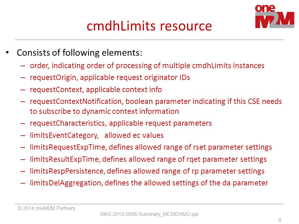 cmdhLimits resource Consists of following elements: