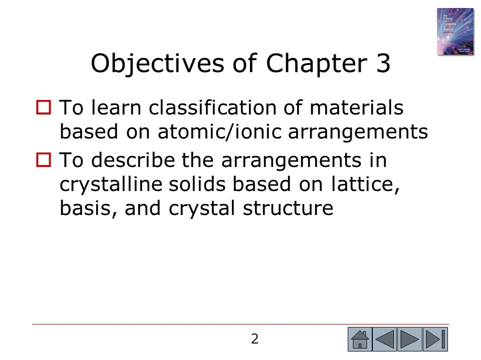 Objectives of Chapter 3 To learn classification of materials based on atomic/ionic arrangements.