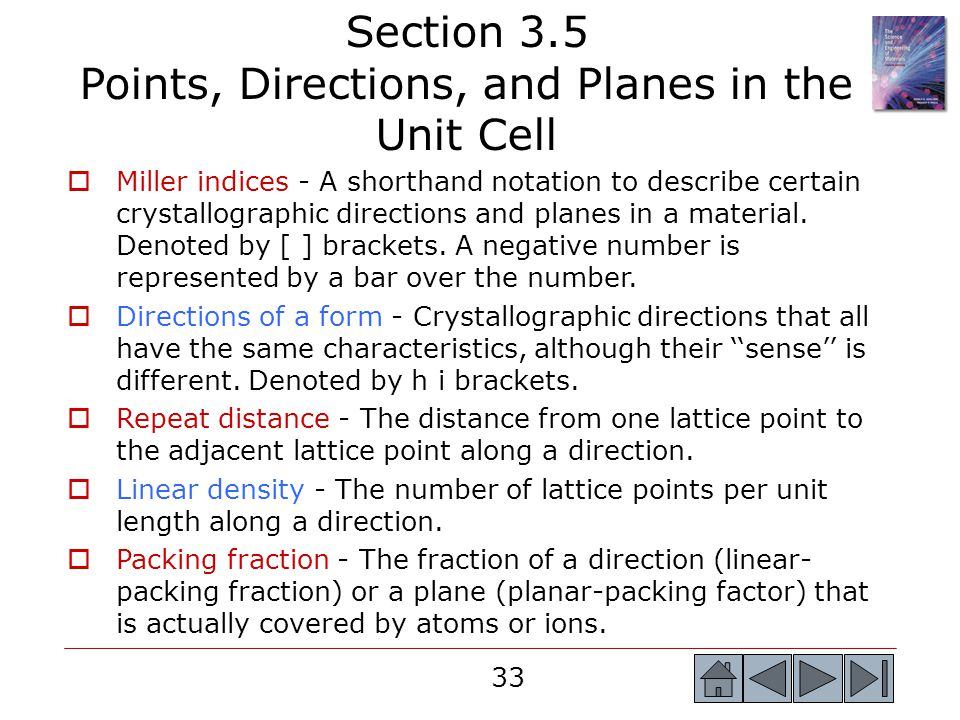 Section 3.5 Points, Directions, and Planes in the Unit Cell