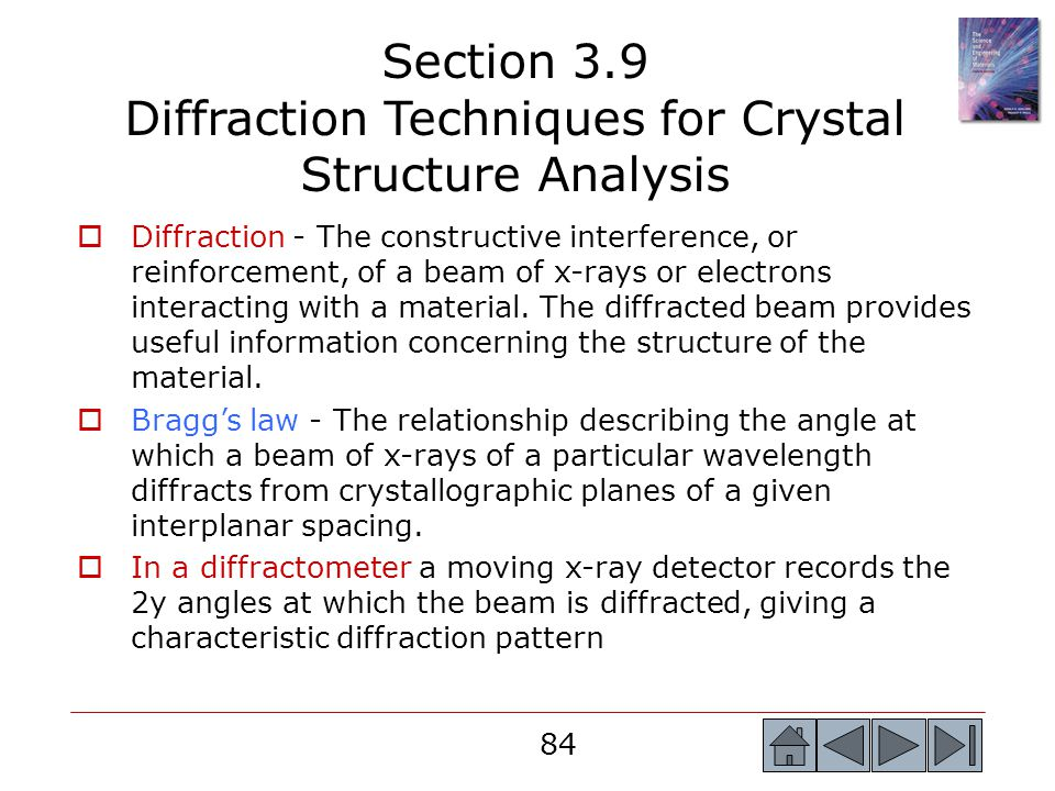 Section 3.9 Diffraction Techniques for Crystal Structure Analysis