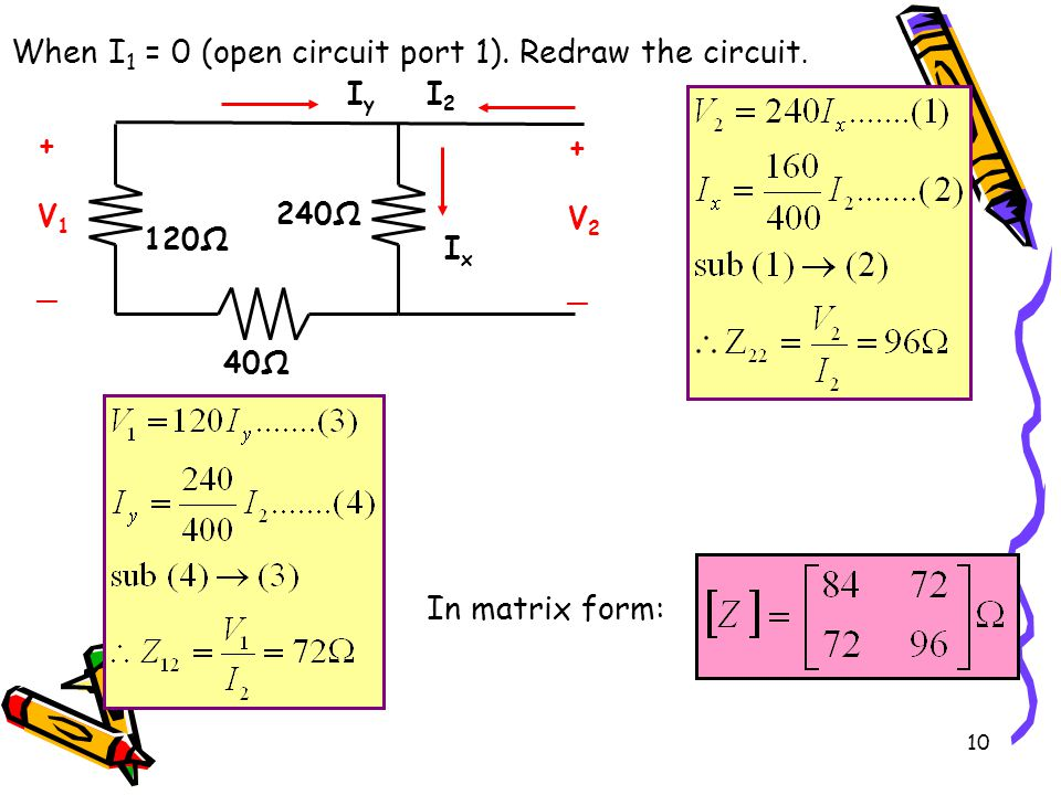 When I1 = 0 (open circuit port 1). Redraw the circuit.