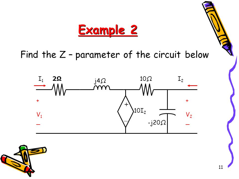 Example 2 Find the Z – parameter of the circuit below + _ V1 V2 -j20Ω