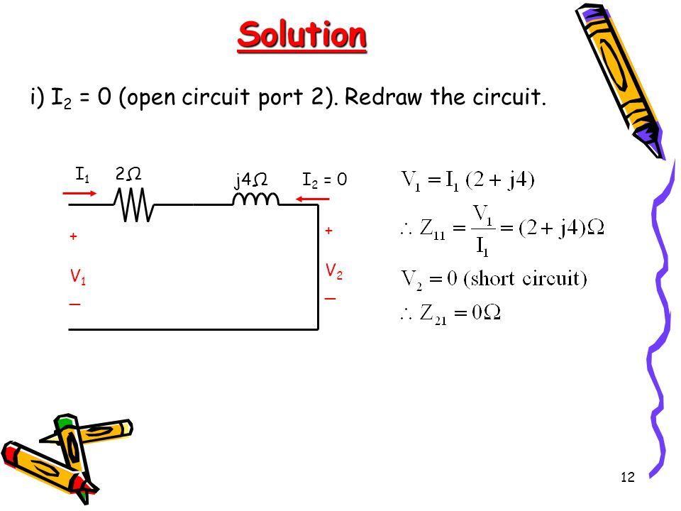 Solution i) I2 = 0 (open circuit port 2). Redraw the circuit. + V1 _