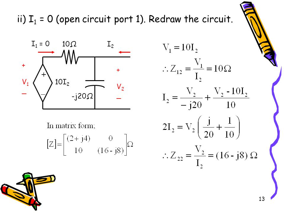 ii) I1 = 0 (open circuit port 1). Redraw the circuit.
