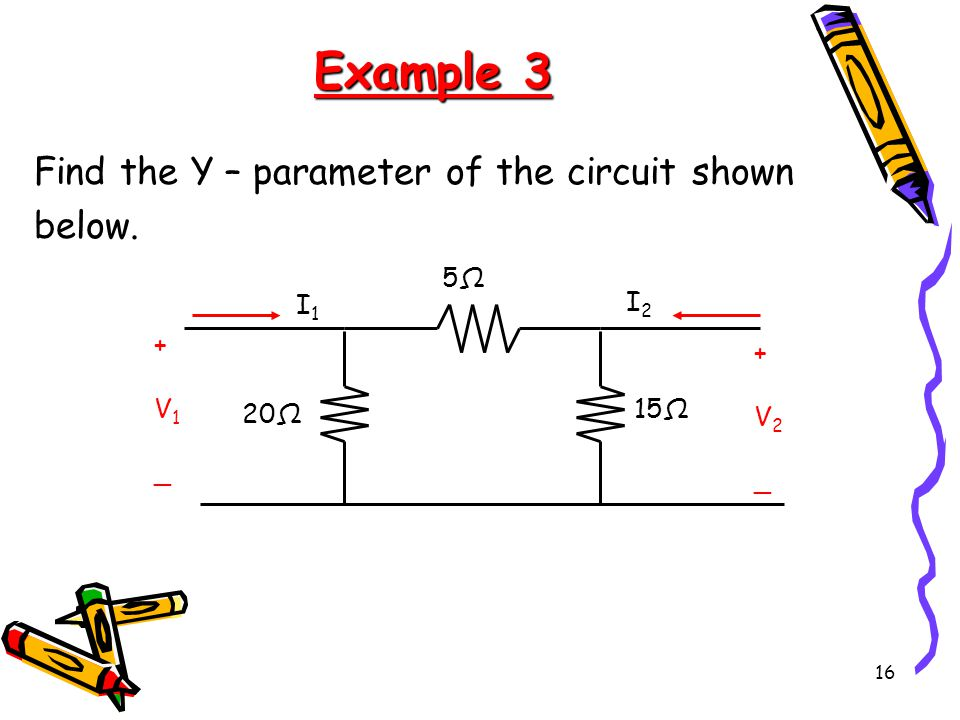 Example 3 Find the Y – parameter of the circuit shown below. 5Ω 15Ω