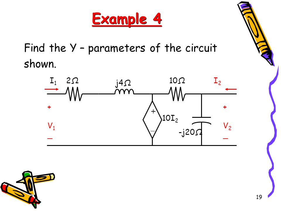 Example 4 Find the Y – parameters of the circuit shown. V1 V2 -j20Ω