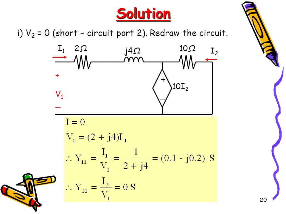 Solution i) V2 = 0 (short – circuit port 2). Redraw the circuit. V1