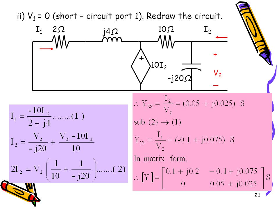 ii) V1 = 0 (short – circuit port 1). Redraw the circuit.