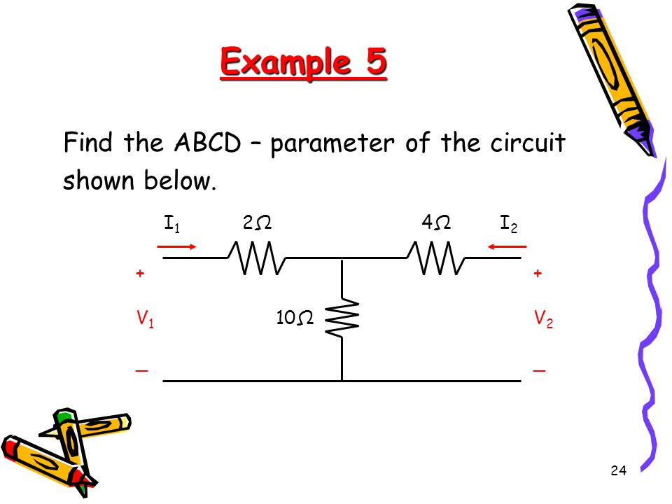 Example 5 Find the ABCD – parameter of the circuit shown below. 2Ω 10Ω