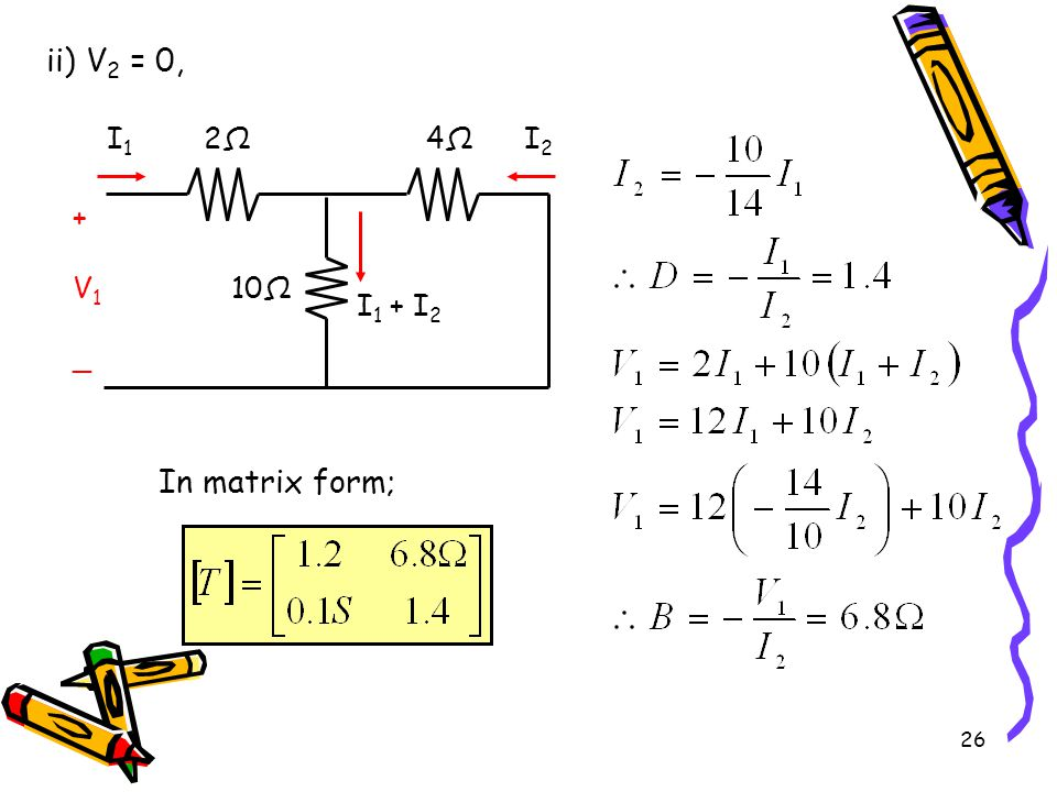 ii) V2 = 0, 2Ω 10Ω I1 I2 + V1 _ 4Ω I1 + I2 In matrix form;