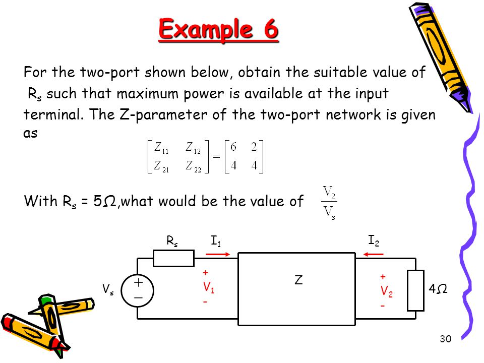 Example 6  For the two-port shown below, obtain the suitable value of