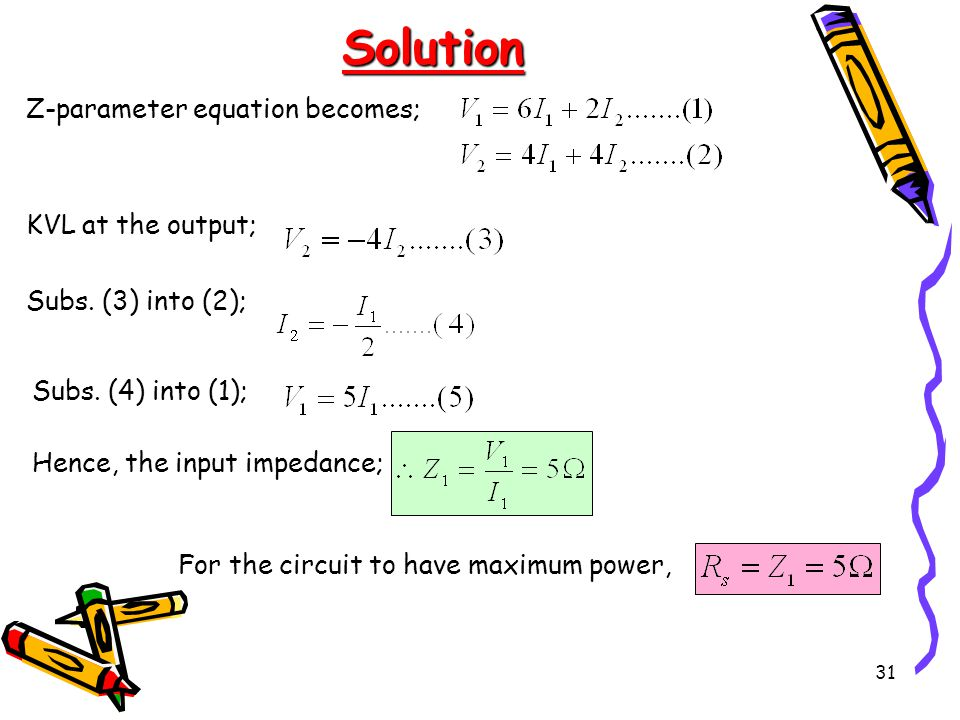 Solution Z-parameter equation becomes; KVL at the output;