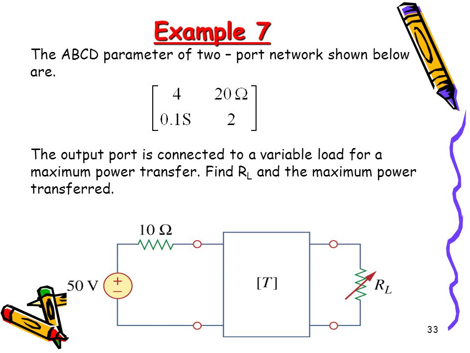 Example 7 The ABCD parameter of two – port network shown below are.