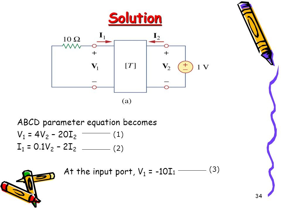 Solution ABCD parameter equation becomes V1 = 4V2 – 20I2