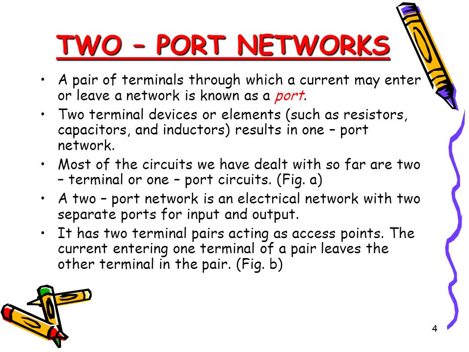 TWO – PORT NETWORKS A pair of terminals through which a current may enter or leave a network is known as a port.