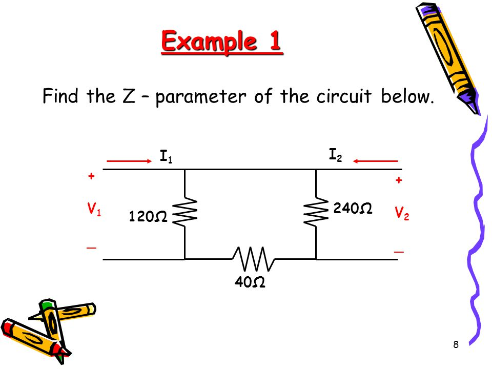 Example 1 Find the Z – parameter of the circuit below. 40Ω 240Ω 120Ω +