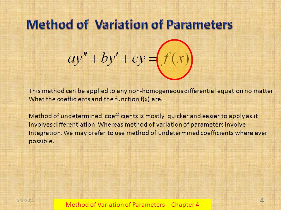Method of Variation of Parameters Chapter 4
