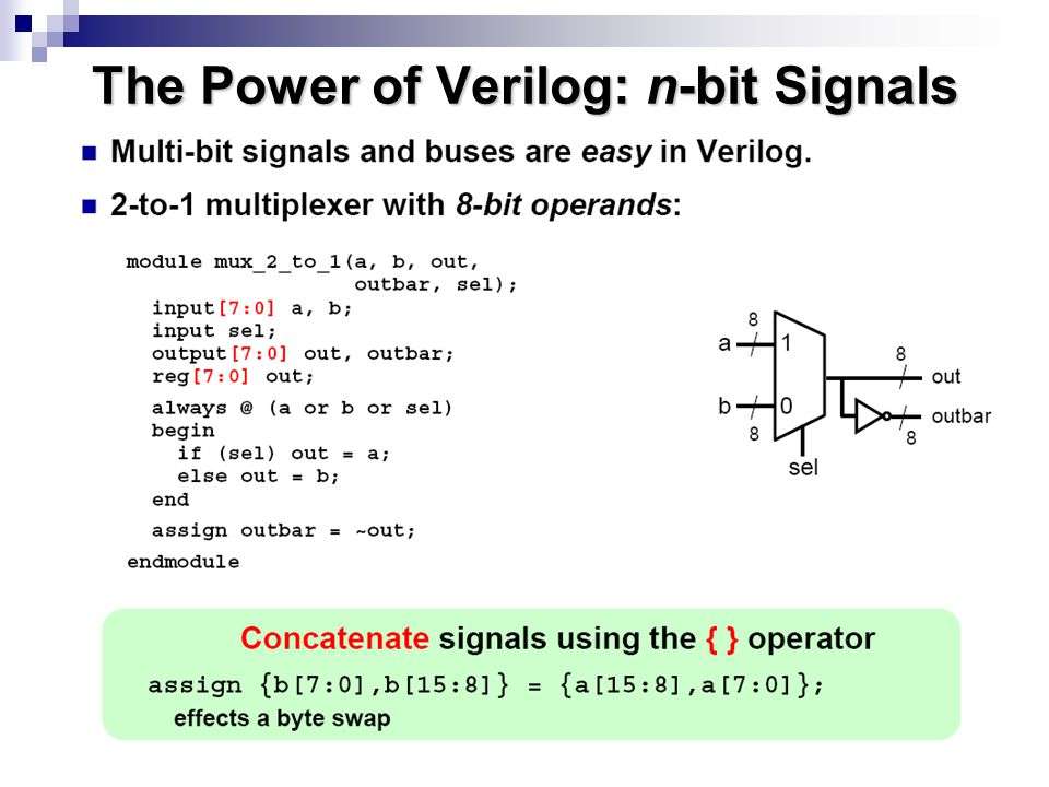 The Power of Verilog: n-bit Signals