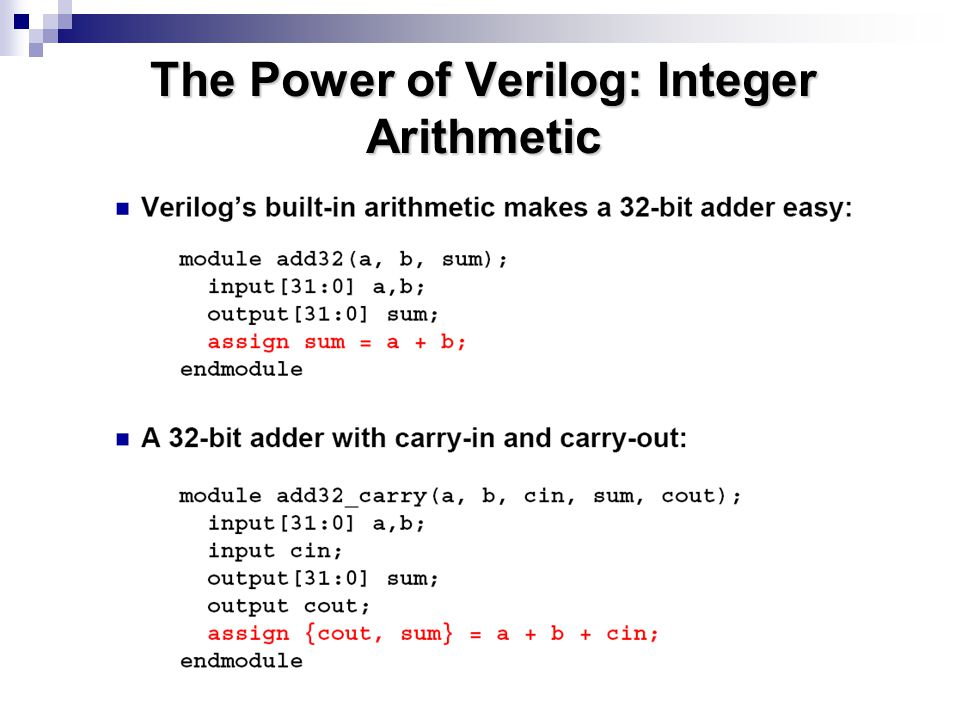 The Power of Verilog: Integer Arithmetic