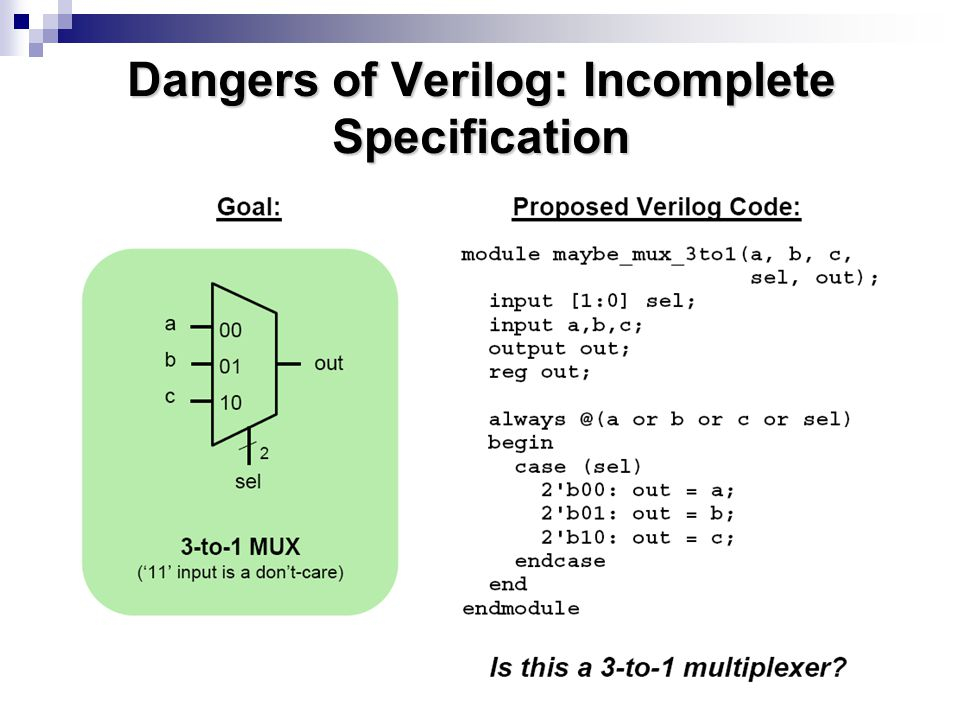 Dangers of Verilog: Incomplete Specification