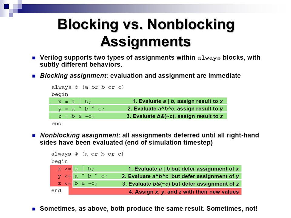 Blocking vs. Nonblocking Assignments