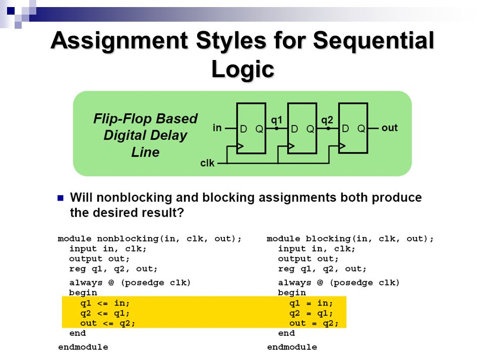 Assignment Styles for Sequential Logic