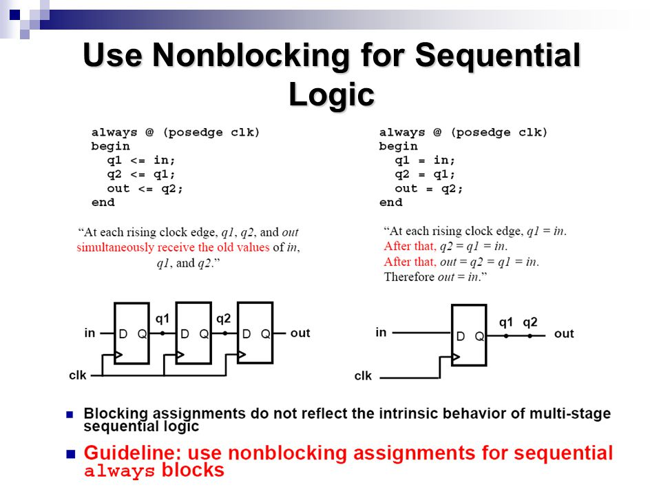 Use Nonblocking for Sequential Logic
