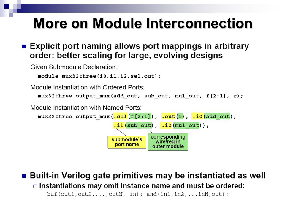 More on Module Interconnection
