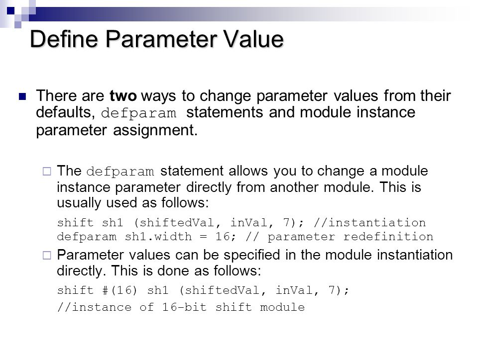 Define Parameter Value