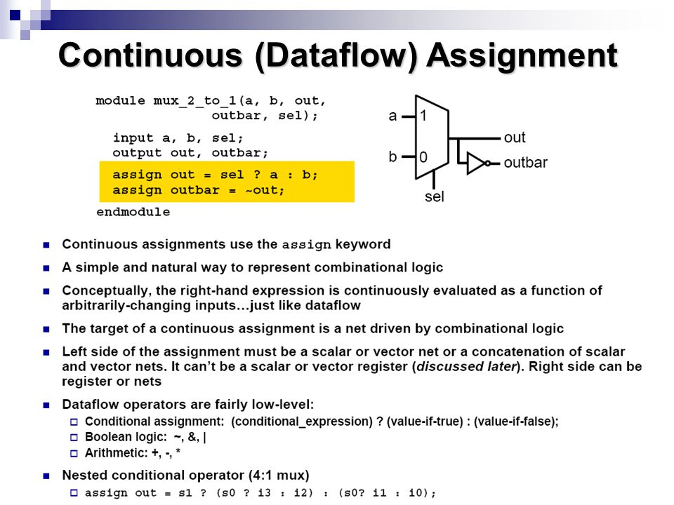 Continuous (Dataflow) Assignment