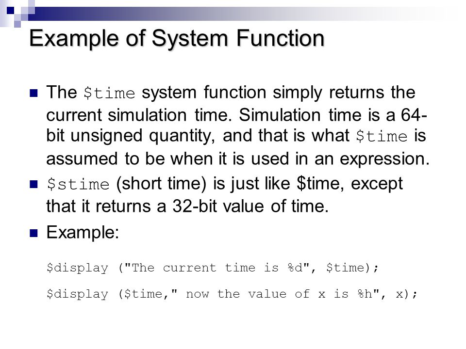 Example of System Function
