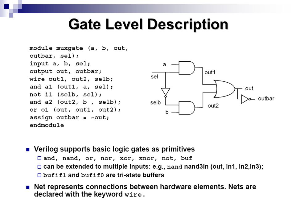 Gate Level Description