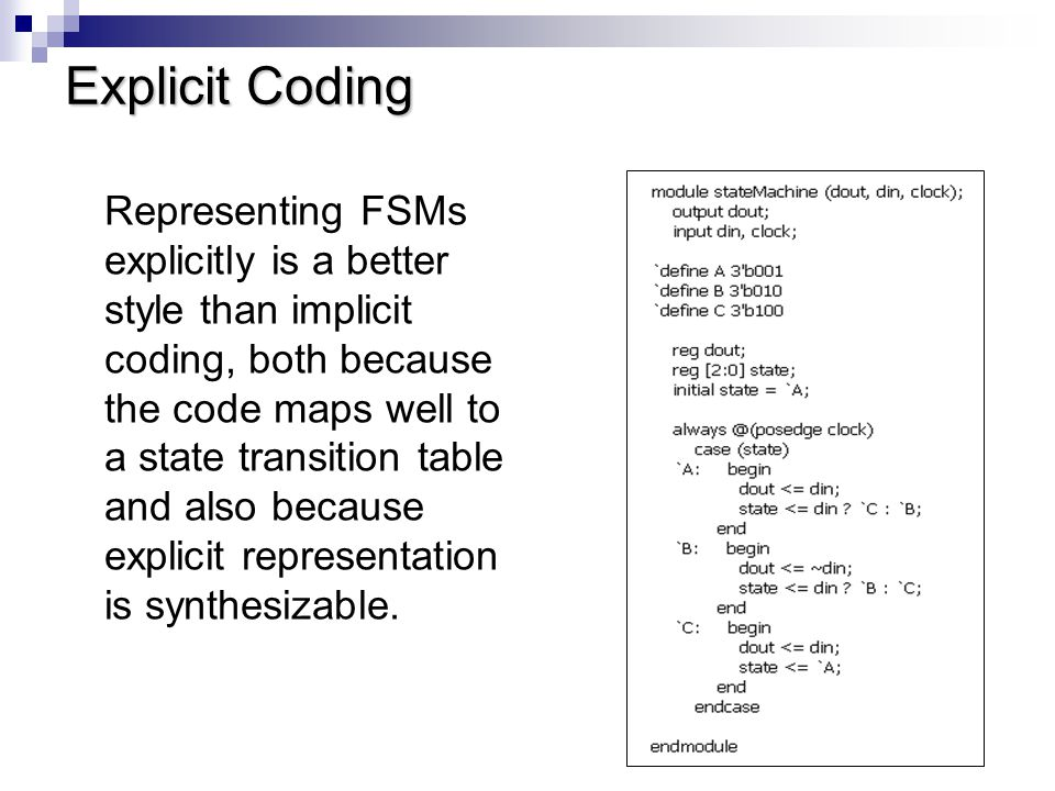 Explicit Coding